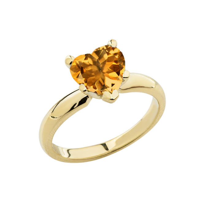 Yellow Gold Solitaire Citrine (LCC) Heart Engagement Ring