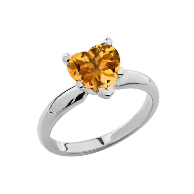 White Gold Solitaire Citrine (LCC) Heart Engagement Ring