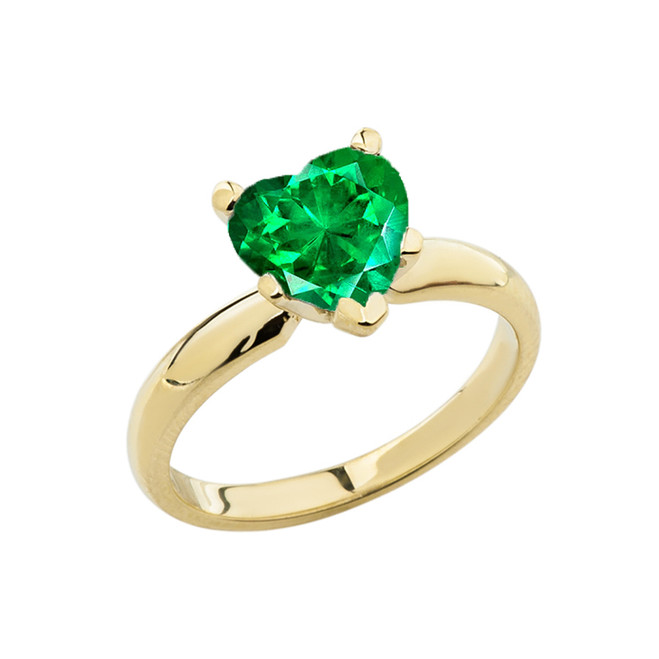 Yellow Gold Solitaire Emerald (LCE) Heart Engagement Ring