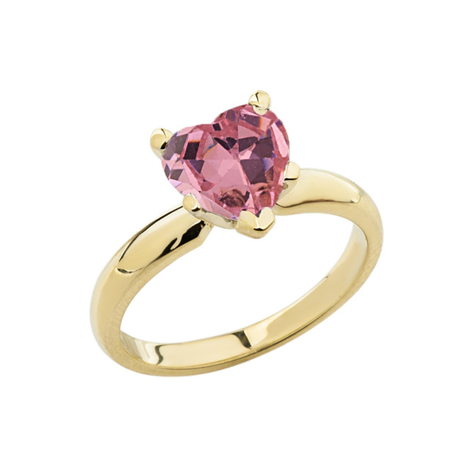 Yellow Gold Solitaire  Pink CZ Heart Engagement Ring