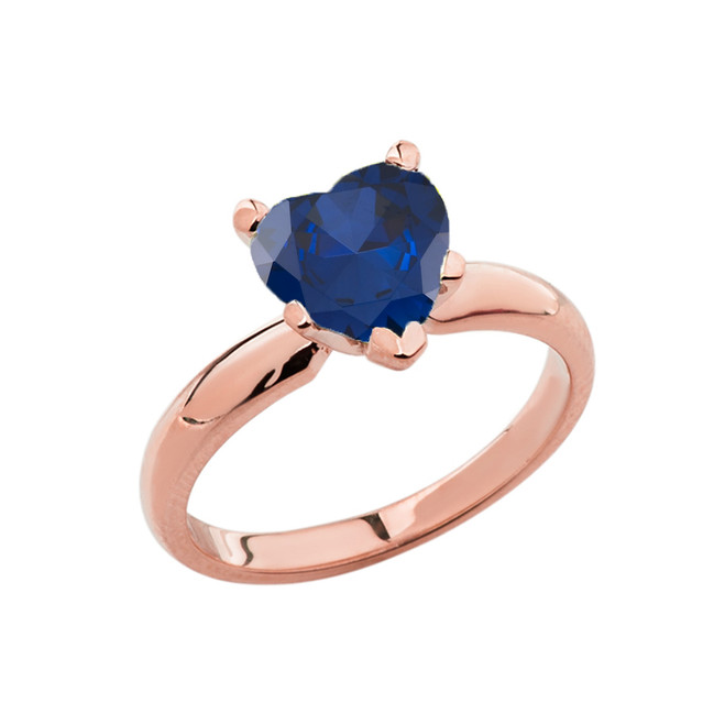 Rose Gold Solitaire Sapphire (LCS) Heart Engagement Ring