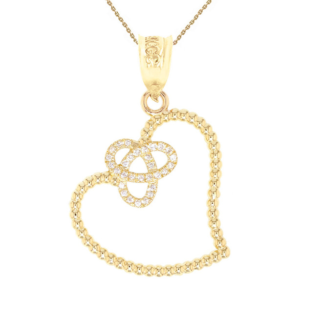 Yellow Gold Trinity Heart Pendant Necklace