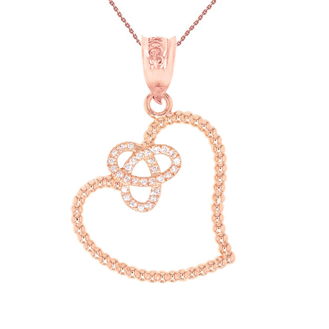 Rose Gold Trinity Heart Pendant Necklace