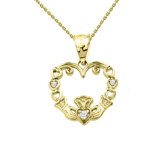 Yellow Gold Diamond Claddagh Open Heart Pendant Necklace