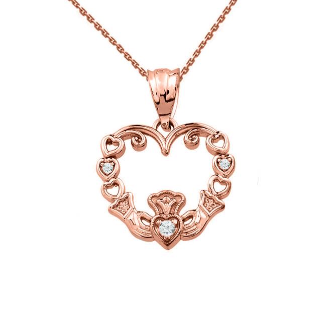 Rose Gold Diamond Claddagh Open Heart Pendant Necklace
