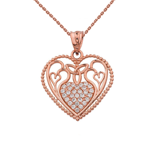 Diamond Heart Pendant With Trinity Knot and Filigree Hearts Design in Rose Gold