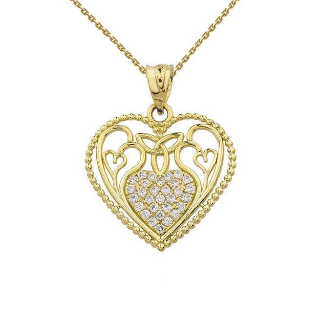 Heart Pendant With Trinity Knot and Filigree Hearts Design in Yellow Gold