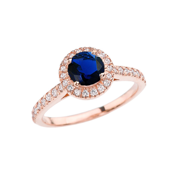 Rose Gold Diamond and Sapphire (LCS) Engagement/Proposal Ring