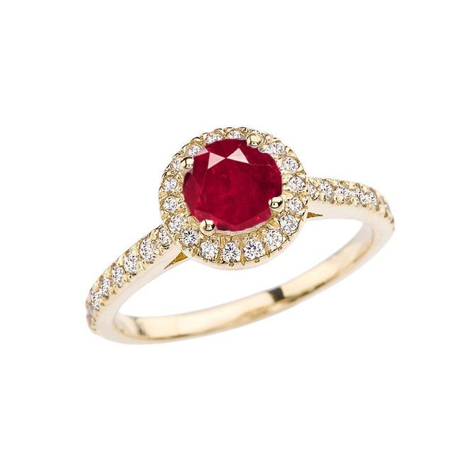 Yellow Gold Diamond and Ruby (LCR) Engagement/Proposal Ring