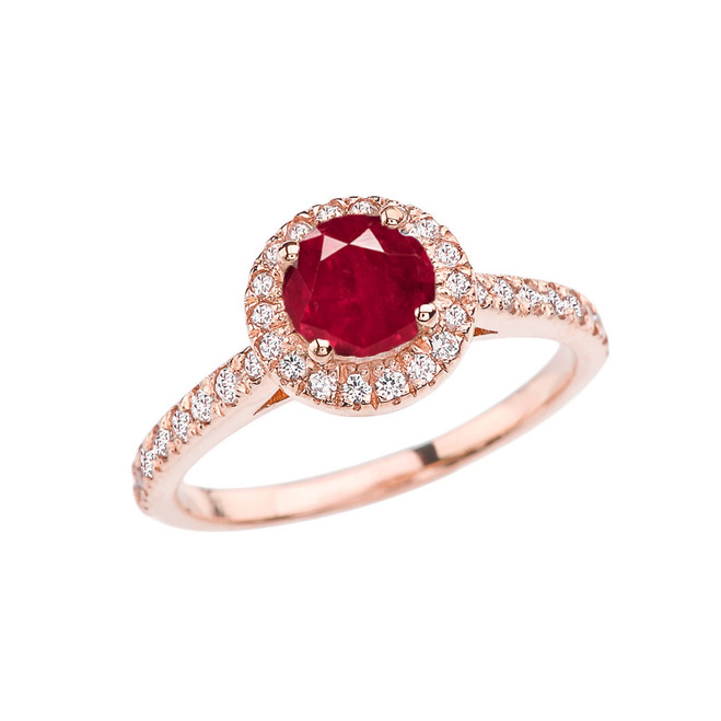 Rose Gold Diamond and Ruby (LCR) Engagement/Proposal Ring