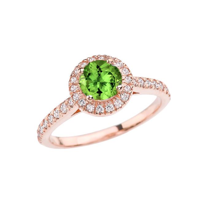 Rose Gold Diamond and Peridot  Engagement/Proposal Ring