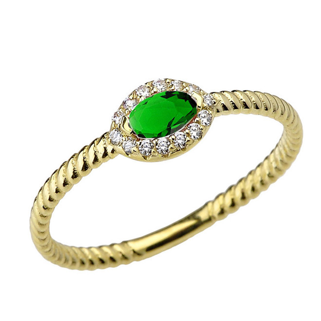 Yellow Gold  Emerald (LCE) & Diamond Solid Rope Ring