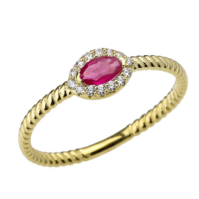 Yellow Gold  Ruby & Diamond Solid Rope Ring