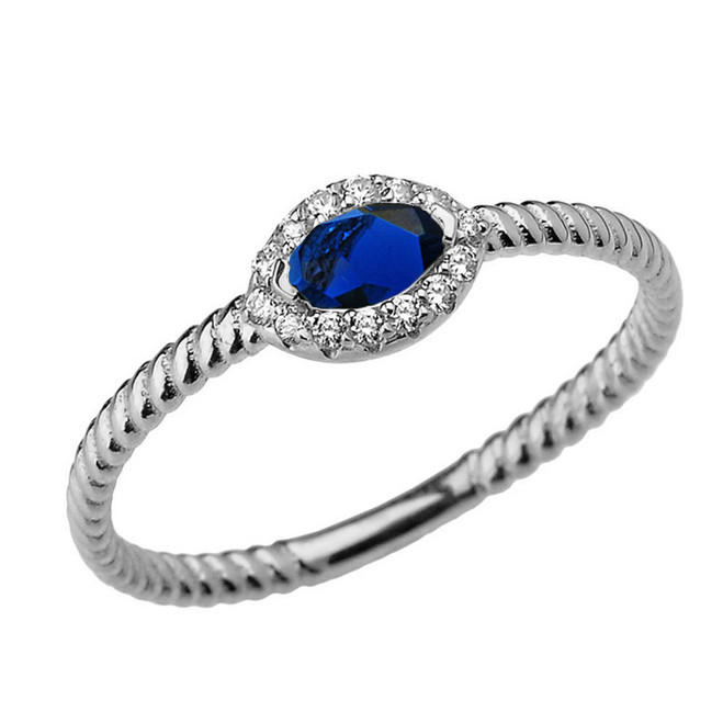 White Gold  Sapphire & Diamond Solid Rope Ring