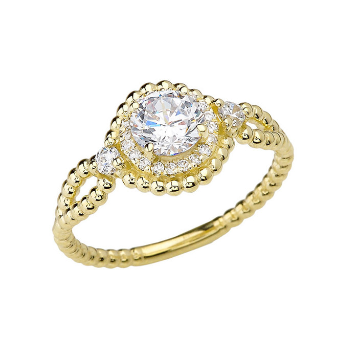 Diamond Engagement Ring Yellow Gold Rope Double Infinity Center White Topaz