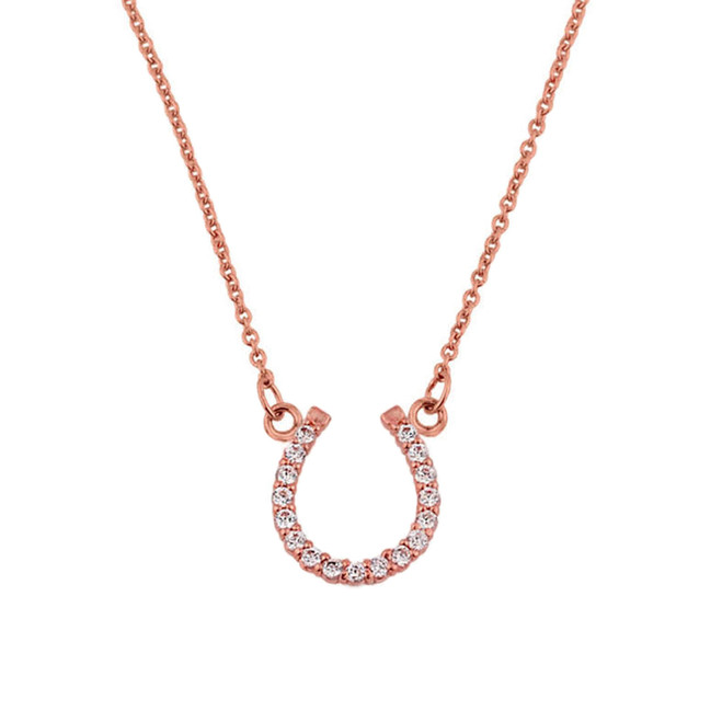 14K Rose Gold Cubic Zirconia Horseshoe Necklace