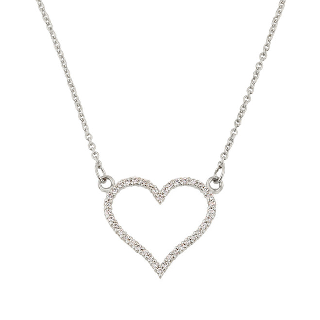14K White Gold Cubic Zirconia Open Heart Necklace