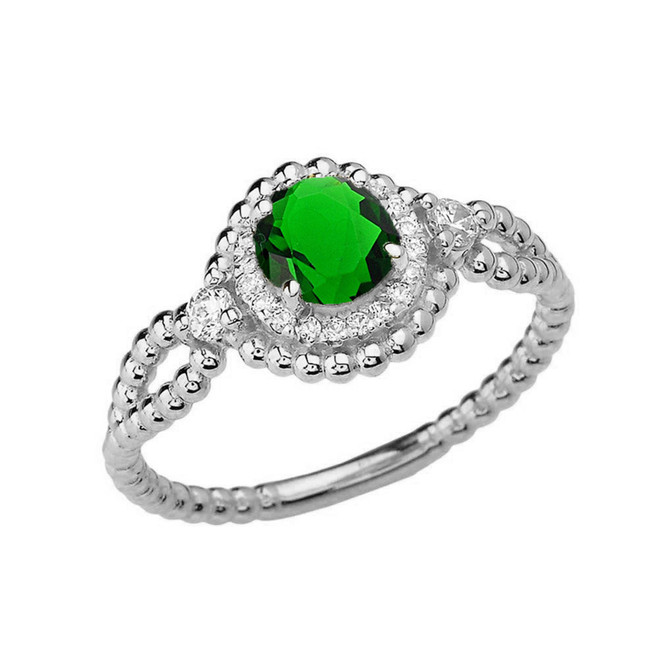 Diamond Engagement Ring White Gold Rope Double Infinity Center Emerald (LCE)