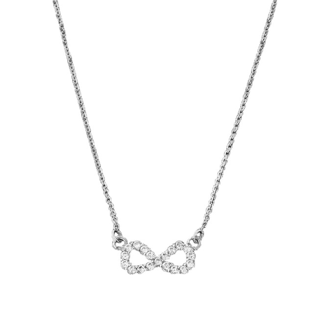 14K Dainty White Gold Diamond Infinity Necklace