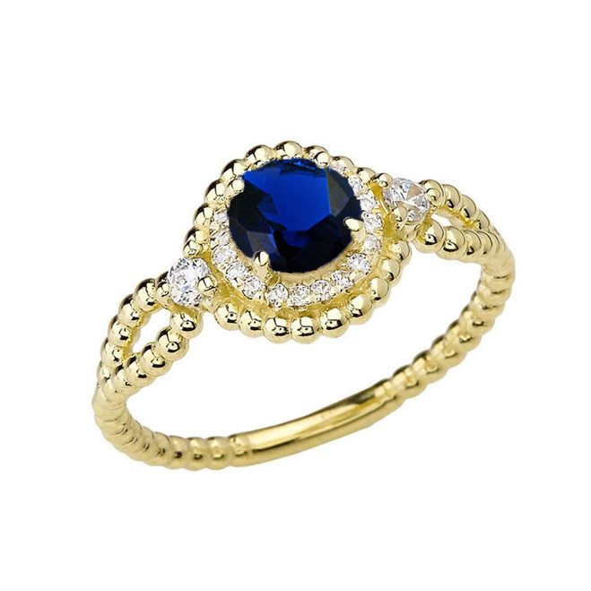 Diamond Engagement Ring Yellow Gold Rope Double Infinity Center Sapphire (LCS)