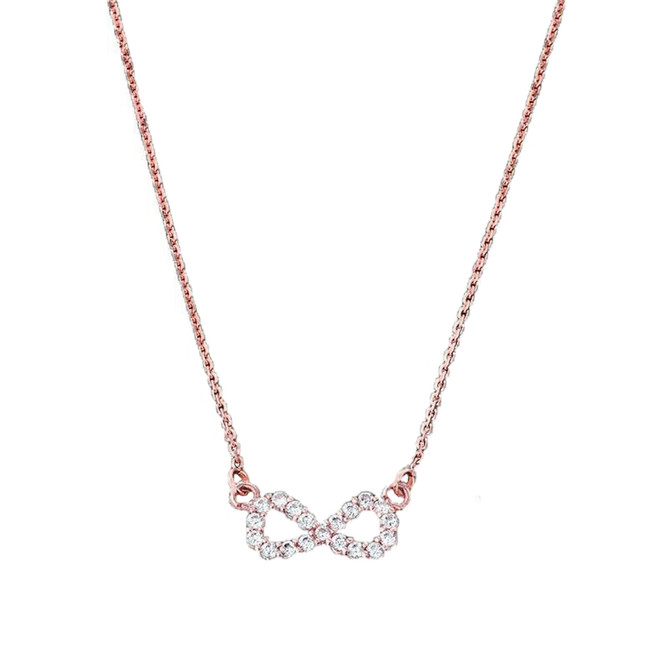 14K Dainty Rose Gold Infinity Necklace