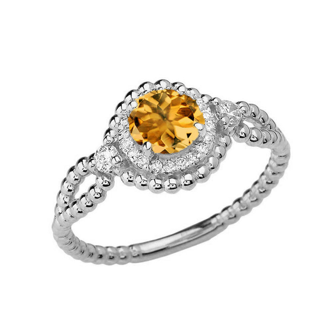 Diamond Engagement Ring White  Gold Rope Double Infinity Center Citrine