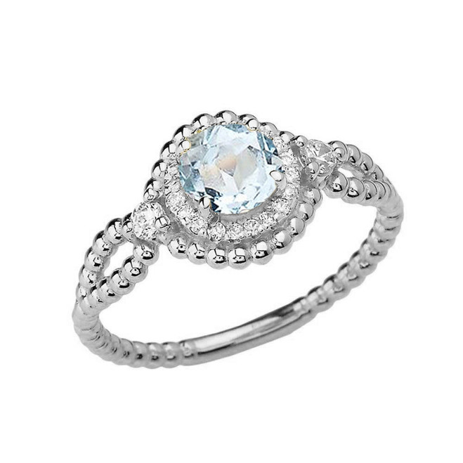 Diamond Engagement Ring White Gold Rope Double Infinity Center Aquamarine