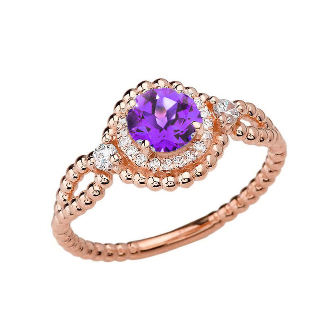 Diamond Engagement Ring Rose Gold Rope Double Infinity Center Amethyst