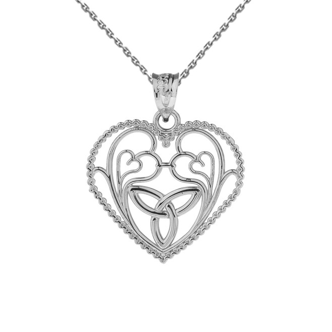 White Gold Rope Heart Pendant with Trinity Knot and Filigree Hearts Design