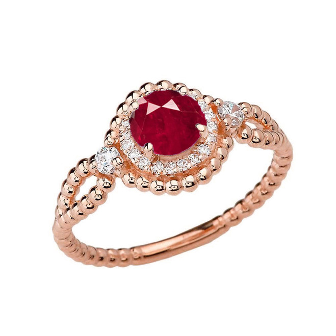Diamond Engagement Ring Rose Gold Rope Double Infinity Center Ruby (LCR)