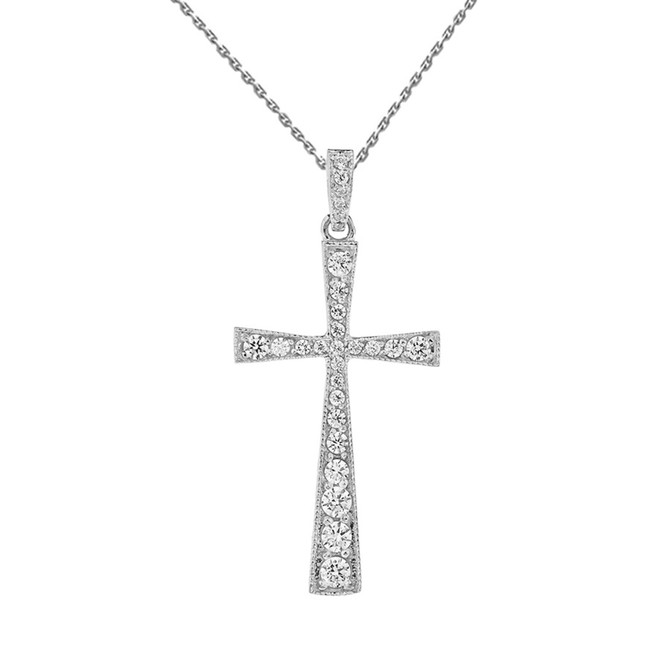 Precious White Gold Diamond Cross Pendant Necklace