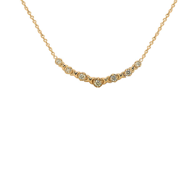 Yellow Gold XOXO Diamond Necklace