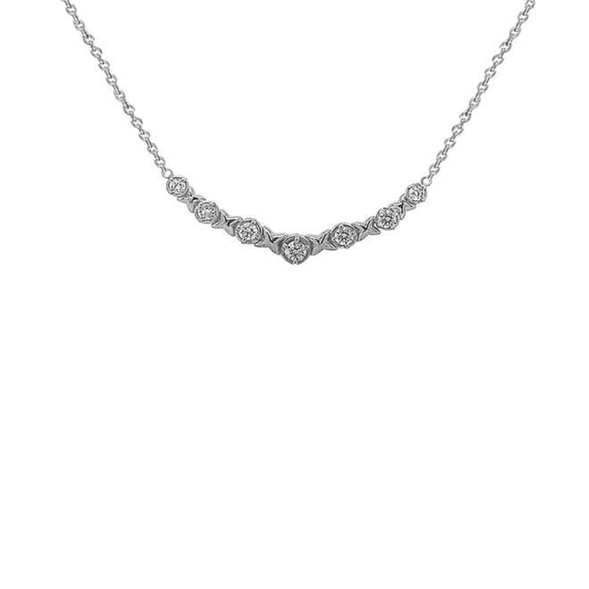 14K White Gold XOXO Necklace