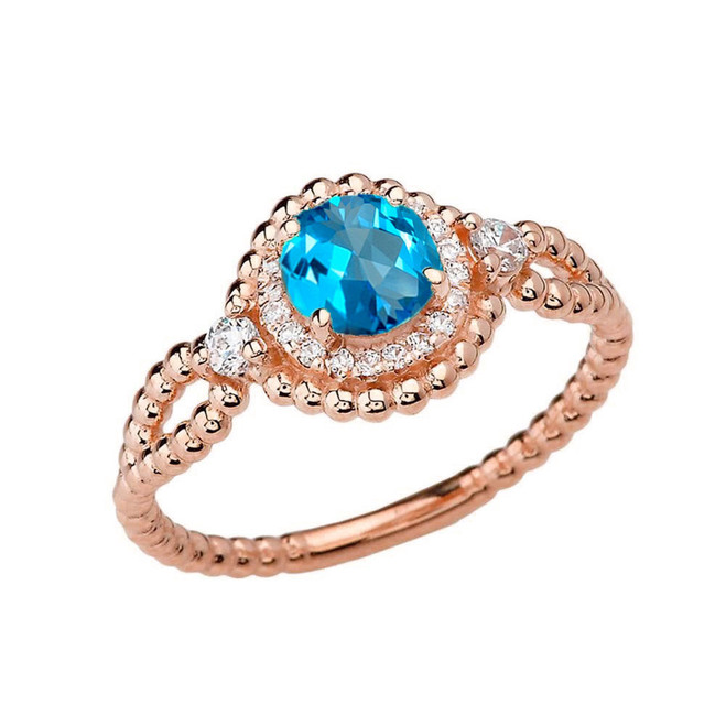 Diamond Engagement Ring Rose Gold Rope Double Infinity Center Blue Topaz