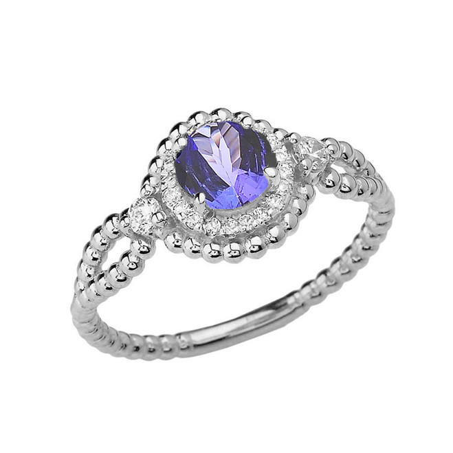 Diamond Engagement Ring White Gold Rope Double Infinity Center Tanzanite