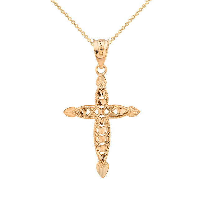 Solid Yellow Gold Love Heart Woven Filigree Cross Pendant Necklace