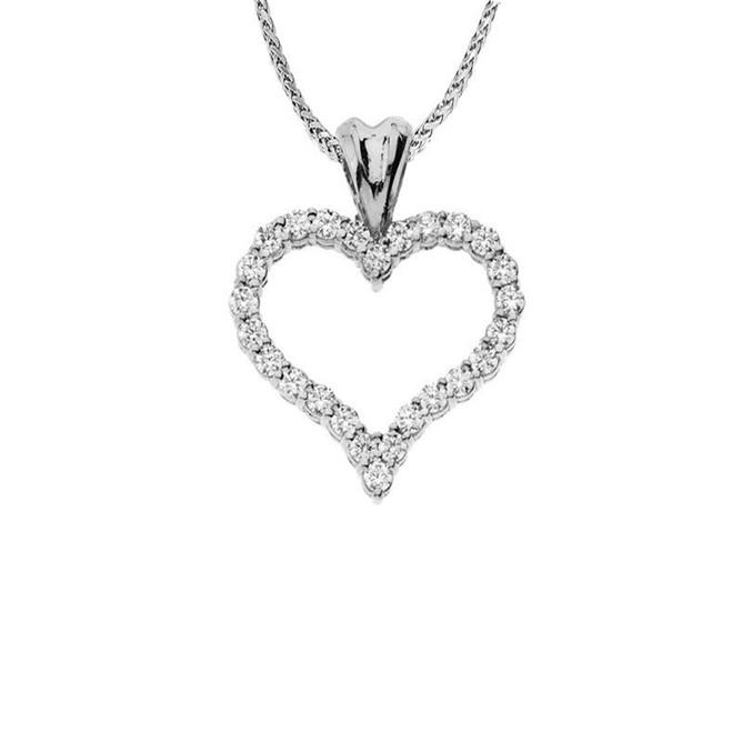 "14K White Gold Diamond Studded Open Heart Pendant Necklace (0.8"")"