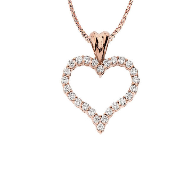 "14K Rose Gold Cubic Zirconia Open Heart Pendant Necklace (0.8"")"