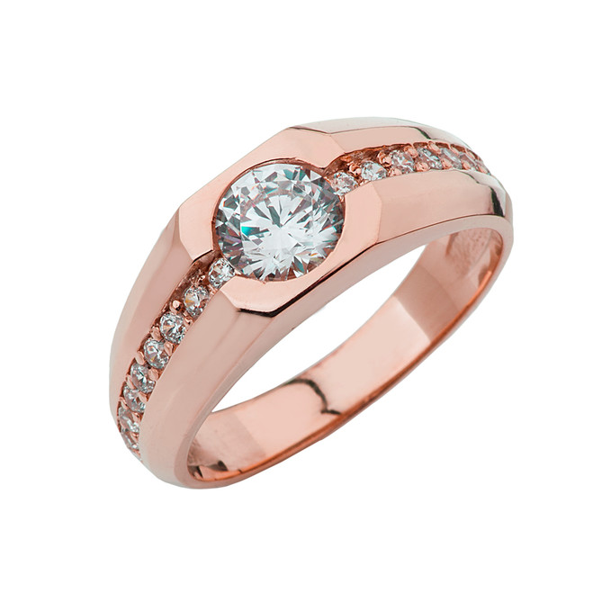 Rose Gold Mens Solitaire Ring with Cubic Zirconia Center Stone