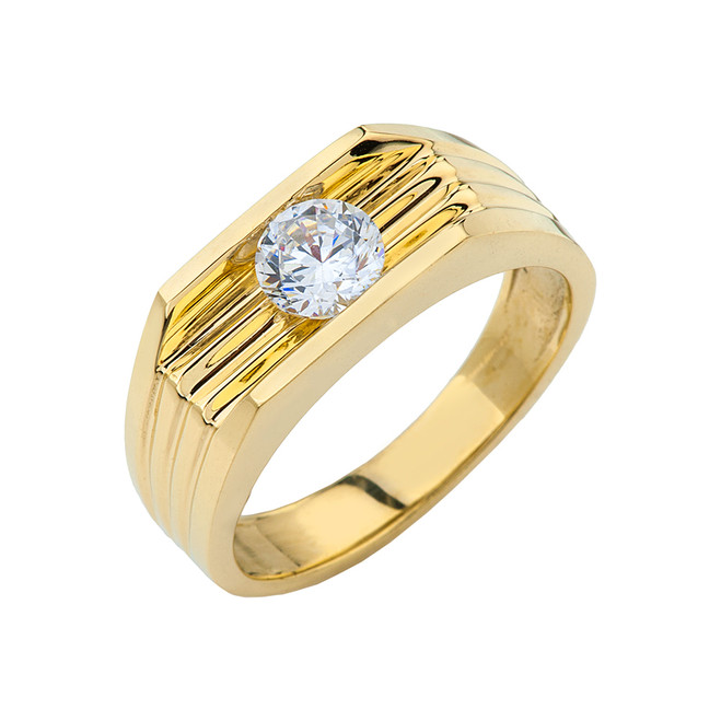 Yellow Gold Design Mens Ring with 1ct Cubic Zirconia Center Stone