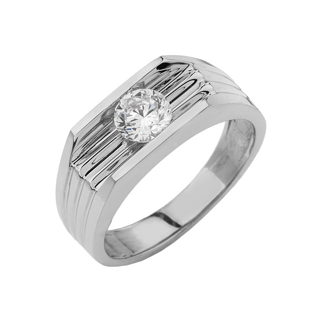 White Gold  Design Mens Ring with 1ct Cubic Zirconia Center Stone
