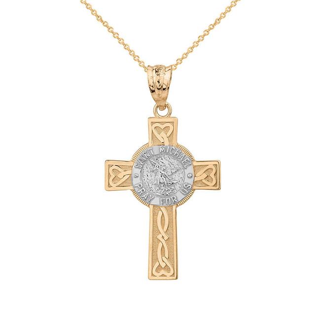 Solid Two Tone Yellow Gold Saint Michael Pray For Us Celtic Cross Pendant Necklace