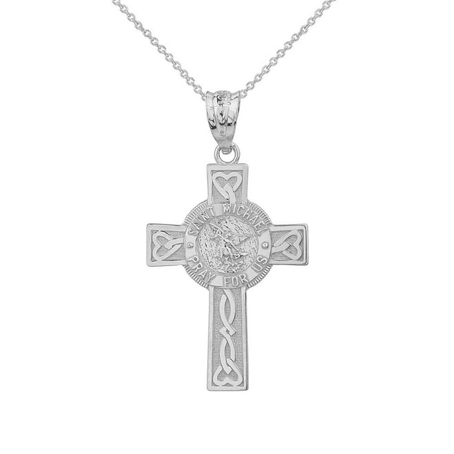 Sterling Silver Saint Michael Pray For Us Celtic Cross Pendant Necklace