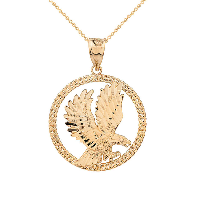 Solid Yellow  Gold Rope Frame Diamond Cut American Eagle Circle Pendant Necklace
