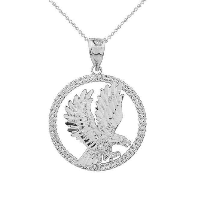 Solid White Gold Rope Frame Diamond Cut American Eagle Circle Pendant Necklace