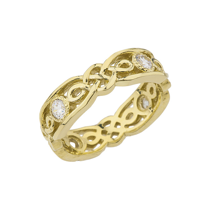 Yellow Gold Diamond Vintage Celtic Wedding Band