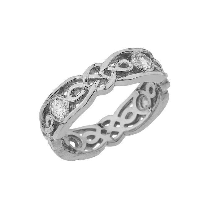 White Gold Diamond Vintage Celtic Wedding Band
