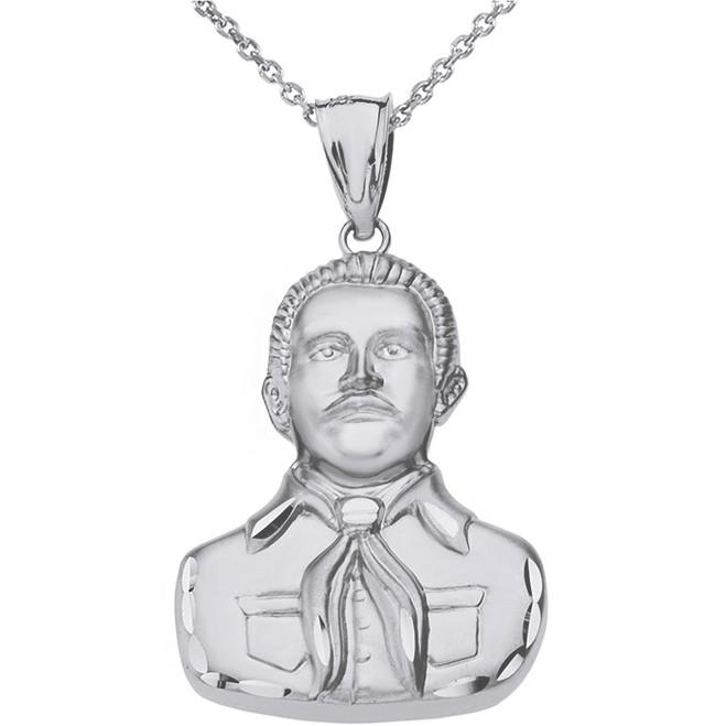 Sterling Silver Double Sided Diamond Cut Malverde Pendant Necklace