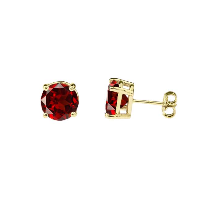 10K Yellow Gold January Birthstone Garnet (LCG) Earrings
