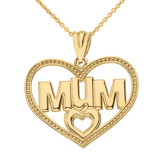 Solid Yellow Gold Dotted Texture Double Hearts Mum Pendant Necklace